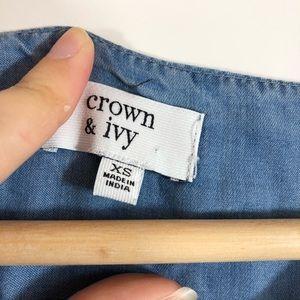crown & ivy Dresses - crown & ivy soft Jean Off The Shoulder Dress